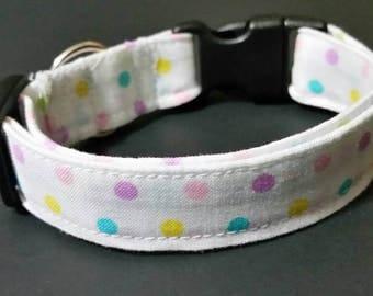 "small dog collar, dog collar, puppy collar, fits 9-13"" inch neck, 5/8"" collar, female collars, Girl collars, polka-dot"