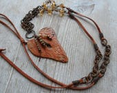 Artisan unique one of a kind necklace Rustic Heart Chain necklace ancient bead charms