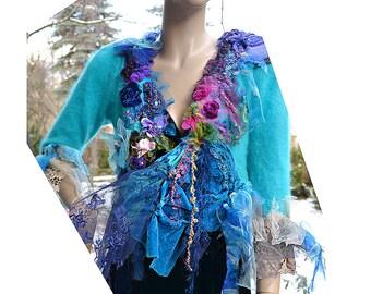 Lovely  TURQUOISE CRAZY GIRL Soft Angora Jacket Lots of Silk Velvet Peacock Colors Pink Magenta Fairy Antoinette Tattered Boho