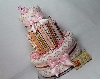 Story Books Baby Diaper Cake Pink Gold Girls Shower Gift or Centerpiece