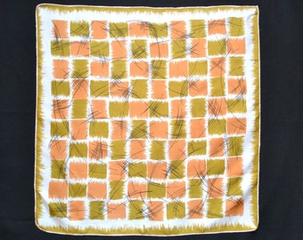 Vintage Silk Scarf Artistic Abstract Geometric Grid in Copper & Olive-Gold Paint Strokes on White Black Line Drawing 26 in. sq. Near Mint
