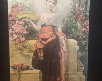 Tinted Antique Postcard -Beautiful Woman with Fan - Pink Flowers