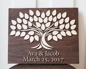 Alternative Wedding Guest Book | 11x14 | Wedding Guest Book | 3d Wood Tree Guest Book