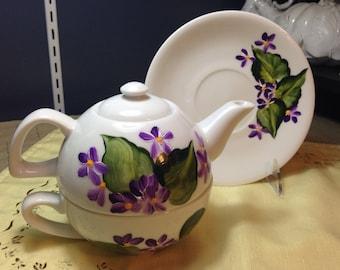 Tea for One Teapot Set Modern purple violets