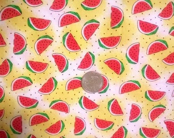 Vintage Style 80's Novelty Watermelon picnic Cotton Fabric Yardage