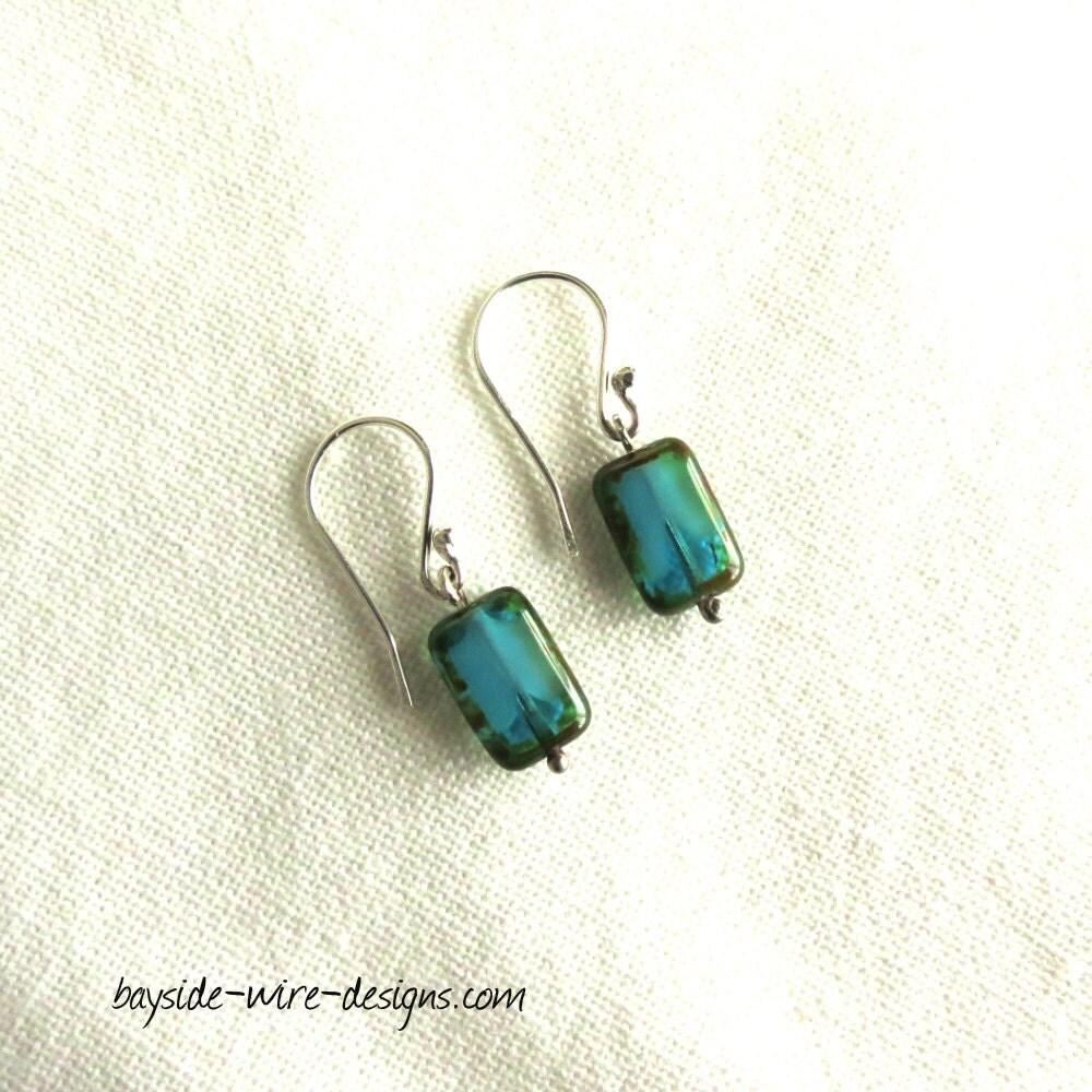 teal earrings in sterling silver handmade