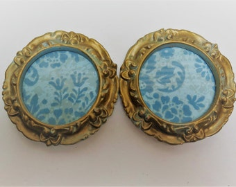 Ornate round picture frames Two (2) Gold 3 inch dia  Hollywood  Regency
