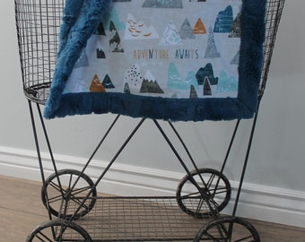 baby blanket, Ships Today-mountain baby blanket 18 x 18  lovey minky, mountain lovey