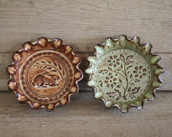 Rustic Folk Art Dish Duo - Rabbit & Flowers
