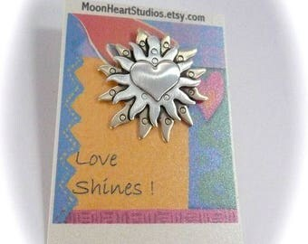 Sun handmade sun jewelry, sterling bronze hearts, art hand stamped, heart pin, valentines day gift, gift ideas, nature jewelry, wearable art