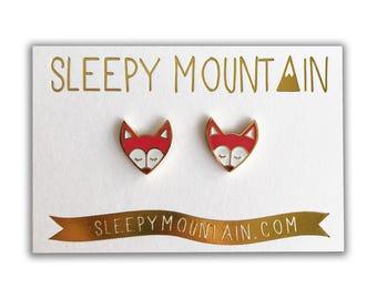Fox Earrings -Red Woodland Fox Gold Plated Stud Earrings