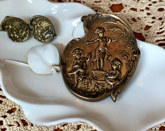 Victorian Brass Brooch and matching screw back Earrings