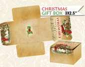CHRISTMAS gift BOX 2x3.5 inch Vintage Template Printable Trees Digital Instant Digital Collage Sheet download (465) Buy 3 get 1 free