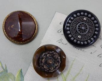 3 Beautiful Bakelite Embellished Fancy Coat Buttons   NDT29