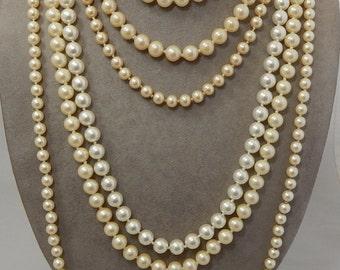 Lot of 6 Vintage Knotted Pearl Necklaces Assorted Lengths Lot 2    OG36
