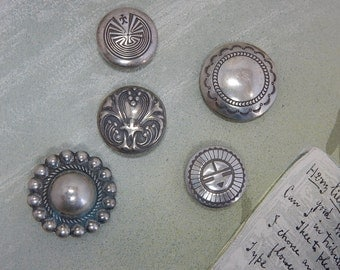5 Southwestern Stamped Silver Concho Button Covers    OP19