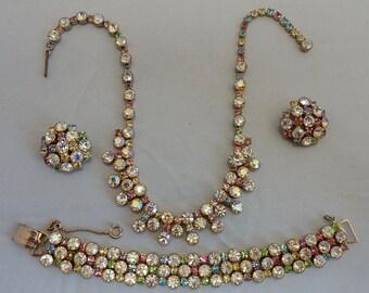 JULIANA Pastel Rhinestone Choke Necklace, Bracelet & Earrings Set    OAB12