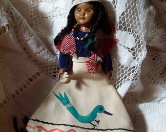 Vintage Water Bird Native American Carlson Doll Leather Purse