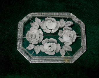 Vintage Clear Lucite Carved Floral Brooch