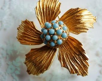 Signed Designer Spring Summer Flower Brooch with Glass Turquoise Designed By BENEDIKT NY