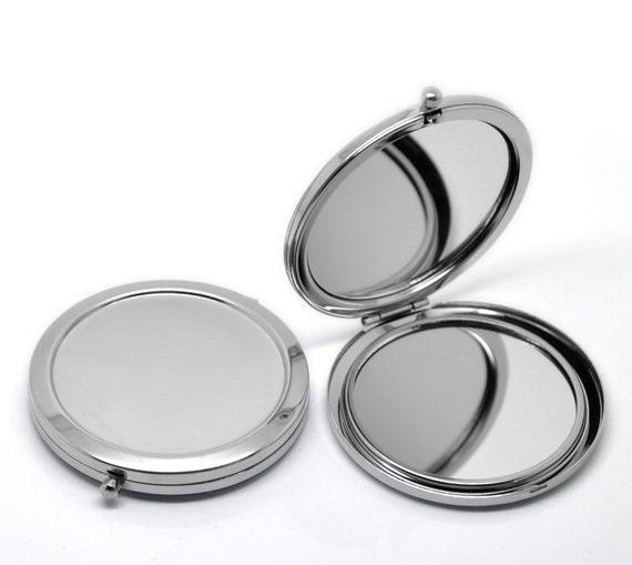 1 pc silver circle make up compact mirror blanks 7 7cm x