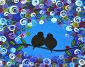 "bird tree painting love birds abstract acrylic blue 18x14"" artist Mariana Stauffer - Malorcka"