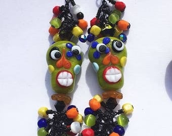 JBB Day of the Dead Sugar SKULL Lampwork EARRINGS Wasabi Chartreuse Green