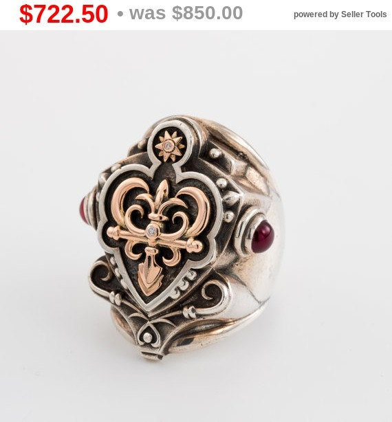 Christmas sale Signet Ring, Statement Ring silver, rose gold by ancient shields, ancient gates, handmade ring and  garnet gemstone, handm...