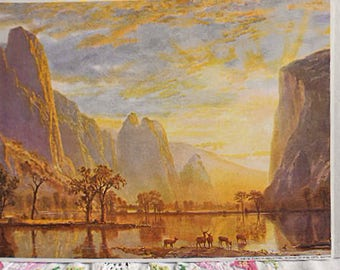VALLEY of the YOSEMITE Litho Print Elk Herd at Dawn at Water's Edge Trees Mountains Sweeping Western Scene, A Beirstadt 8 x 10 Bmfa to Frame