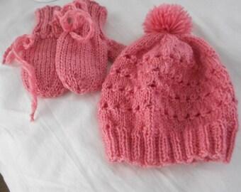 pink hat pink knitted hat hat set ski hat set