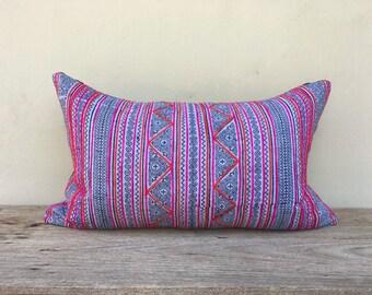 "16"" x 26"" Vintage Cotton Tribal Hand Print Patch Work Pillow Case, Hmong pillow case, African pillow case, bohemian pilow case,"