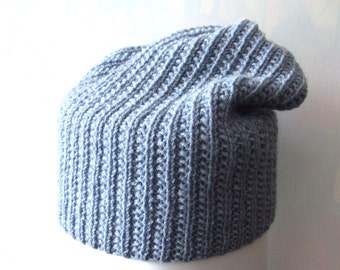 blue beanie hat, slouchy hat, mens hat, womens hat, knit hat, knit cap, Christmas in July, 15% OFF