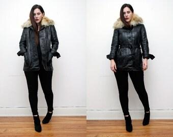 Vintage Real Leather Biker Sheepskin Aviator Penny Lane Collar Jacket