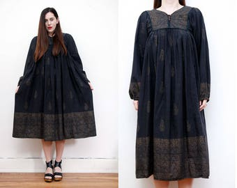 Vintage Phool Indian Cotton Gauze Dress Boho Dress Hippie Dress Ethnic Floral Gauze Cotton Dress 70s
