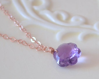 Real Amethyst Necklace, Rose Gold Jewelry, Purple Gemstone, Flower Pendant, Pink Gold Chain, Genuine February Birthstone, Free Shipping