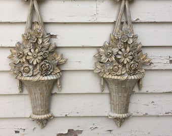 Vintage Set of 2 Ornate Flower Baskets Gold and White French Country 3 D Plastic Wall Hanging Made in USA 1970's Dart Homco