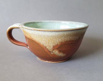 Large Deep Soup Cereal Bowl with Handle Brown Red Green Handmade Pottery Ceramic