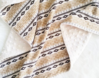 Baby Blanket, faux fur baby blanket, minky baby blanket, adventure stripe, personalized baby blanket