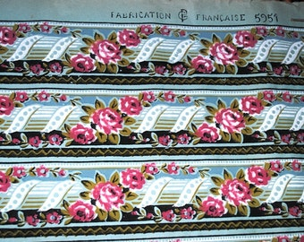 Antique FRENCH WALLPAPER Roll Lovely ROSES Borders