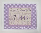 Birth Stats Sign - Purple Polka Dot Nursery Decor - Embroidered Canvas with Fabric Mat - Baby Art - 11X14  - Lavender Nursery Decoration