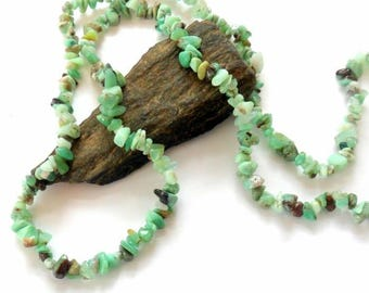 Green Opal Long Chip Gemstone Necklace earthegy #844