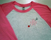 Personalized Valentine Monogrammed Raglan Shirt Baseball Shirt Women's 3/4 sleeve Personalized MANY many colors to choose from PRE-ORDER
