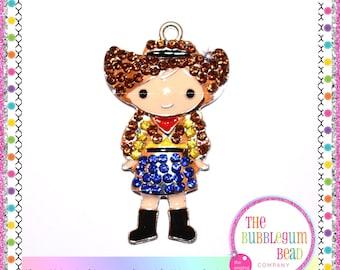 COWGIRL RHINESTONE PENDANT, 48mm, Bubblegum Necklace Pendant, Gumball Necklace Pendant, Chunky Necklace Pendant, Rodeo,The Bubblegum Bead Co