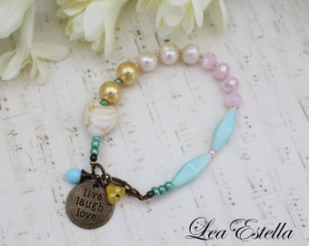 Live Laugh Love Inspirational Jewelry Asymetrical bracelet Pink and mint Shabby chic bracelet Pearl bracelet Quirky colourful bracelet