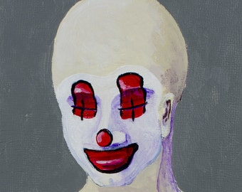 EMMA - Contemporary Acrylic Painting on Cradled Wood - Clown, Sad, Bald, Minimal, Portraiture
