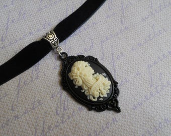 Gothic Lolita skeleton girl day of the dead choker necklace black velvet