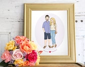 Custom Portrait Illustration, Couple's Portrait, Love Portrait, Personlized Portrait, Anniversary Present, 1st Anniversary, Anniversary Gift