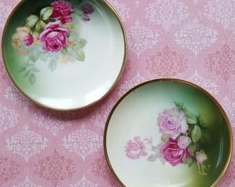 Antique Emerald Garden Green Rose, Sevres Set of 2 Decorative Porcelain Plates, Bavaria