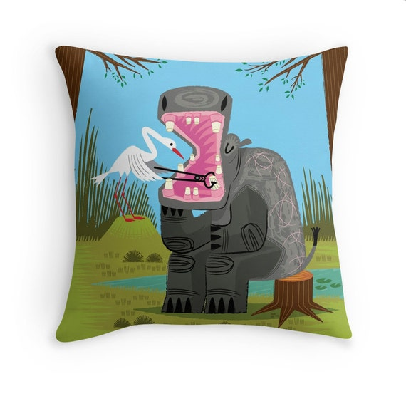"Hippopotamouth -  Children's decor - Throw Pillow / Cushion Cover (16"" x 16"") iOTA iLLUSTRATION"