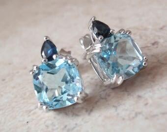 Sapphire Topaz Earrings Sterling Silver Cushion Cut Vintage V0998L